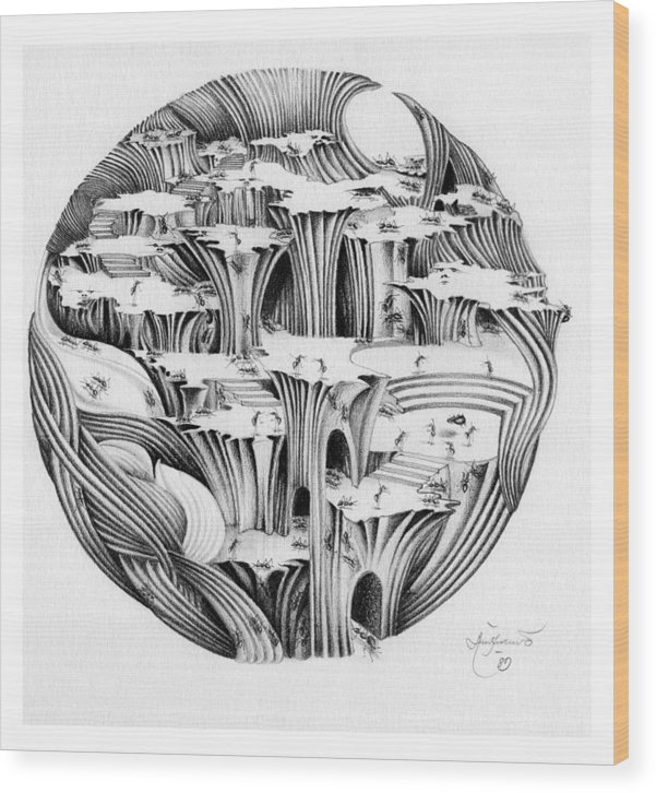 Surrealism Wood Print featuring the drawing Untitled by Aziz Awang