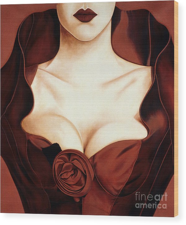 Lawrence Supino Wood Print featuring the painting Satin Rose by Lawrence Supino