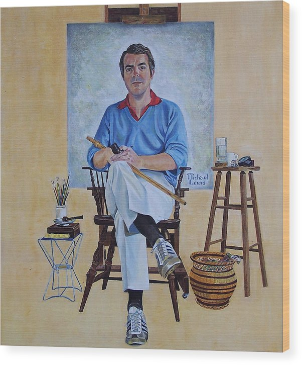 Portraiture Wood Print featuring the painting A Rockwell Tribute by Michael Lewis