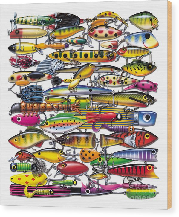 Fish Wood Print featuring the painting Lures by JQ Licensing