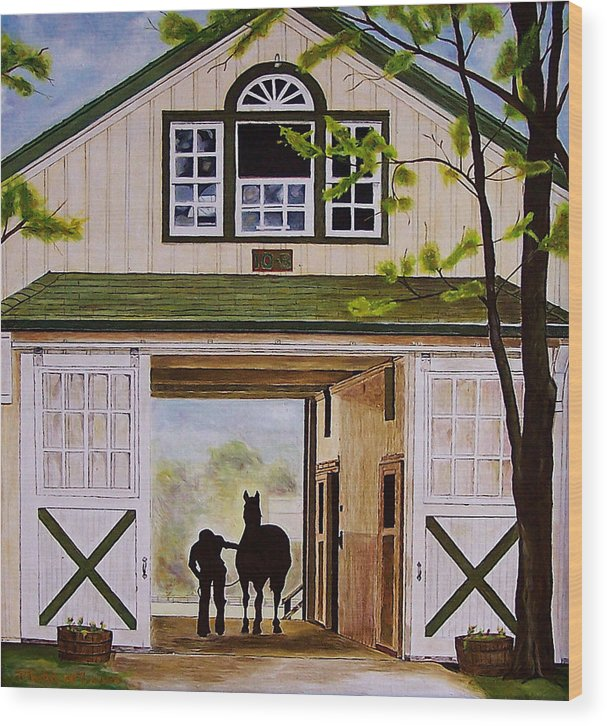Landscape Wood Print featuring the painting Horse Barn by Michael Lewis