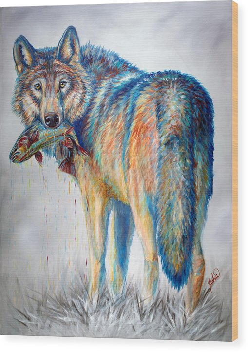 Wolf Wood Print featuring the painting Survivor by Teshia Art