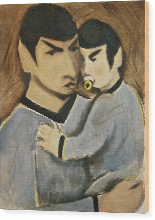 Spock Wood Print featuring the painting Baby Spock Art Print by Tommervik