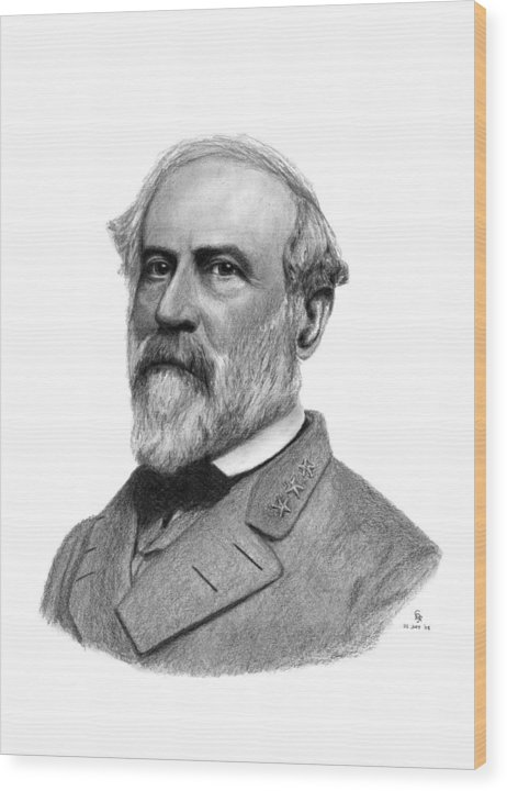 Confederate Wood Print featuring the drawing Confederate General Robert E Lee by Charles Vogan