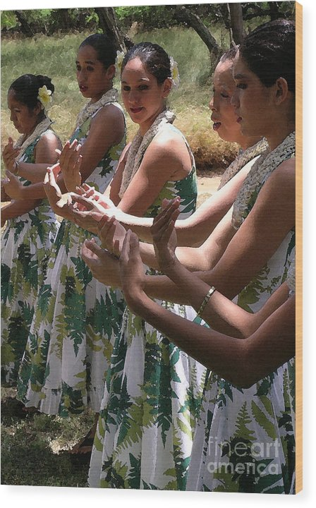 Hula Wood Print featuring the photograph Hula Hands by James Temple