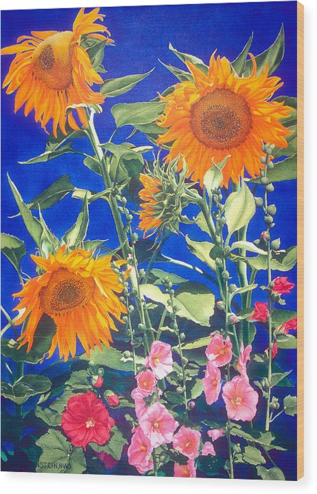 Floral Wood Print featuring the print Suncatchers by Mary Backer