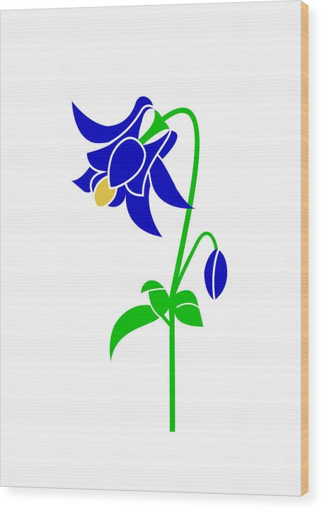 Columbinw Wood Print featuring the digital art Columbine by Asbjorn Lonvig