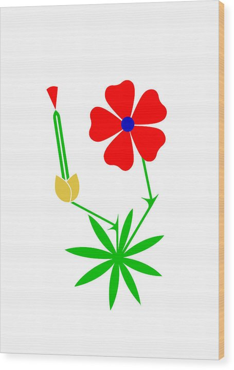 Cranesbill Wood Print featuring the digital art Cranesbill by Asbjorn Lonvig