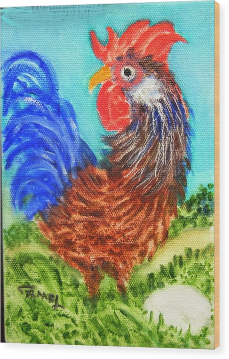 Hen Wood Print featuring the painting Hen With Egg by Fernando Armel