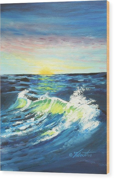 Landscape Wood Print featuring the painting Wave By Early Light by Dennis Vebert