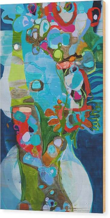 Abstract Wood Print featuring the painting El Arbol by Claire Desjardins