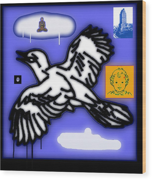 Wood Print featuring the painting Drippy Bird And Cloud by Steve Fields