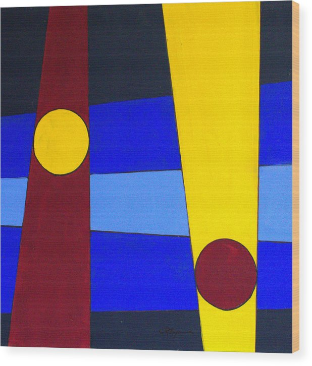 Abstract Wood Print featuring the painting Circles Lines Color by J R Seymour