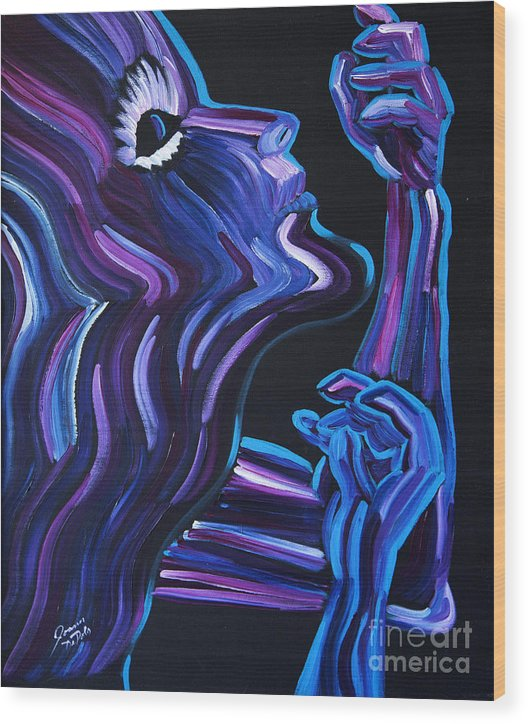 Figure Wood Print featuring the painting Reach by JoAnn DePolo