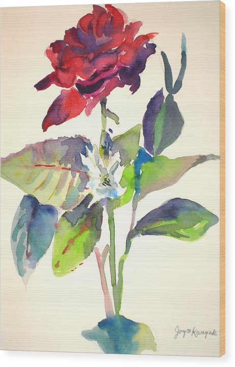 Rose Wood Print featuring the painting A Rpse by Joyce Kanyuk