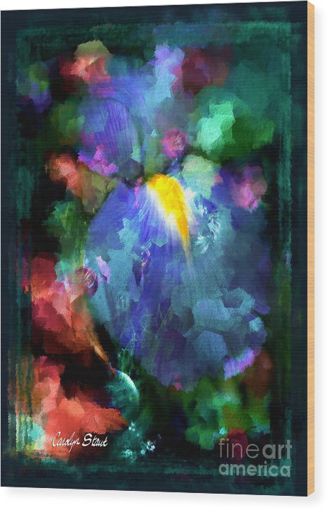 Abstract Foral Abstracts Blue Iris Wall Art Wood Print featuring the painting Dancing Iris by Carolyn Staut