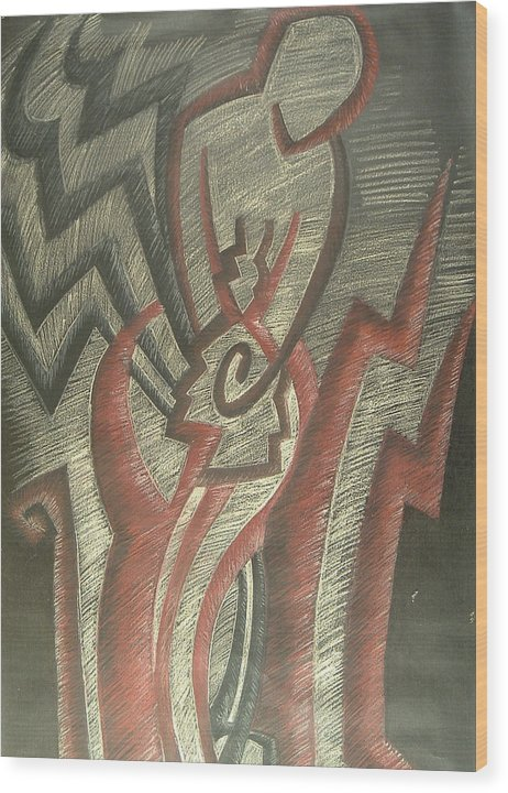 Drawing Wood Print featuring the drawing Inner Turmoil Detail by Donald Burroughs