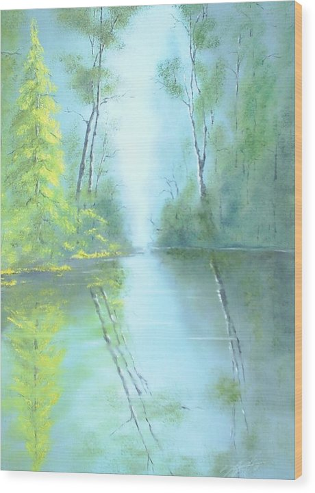 Landscape Wood Print featuring the painting Yellow Tree by Dennis Vebert