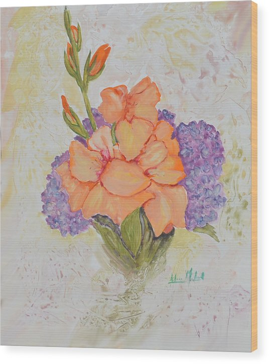 Floral Wood Print featuring the painting Gladioli And Hydrangea by Aileen McLeod