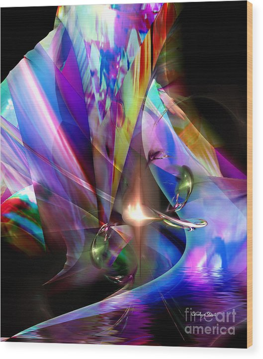 Abstract Bright Colors Digial Abstract Wood Print featuring the digital art The Lamp Light by Carolyn Staut