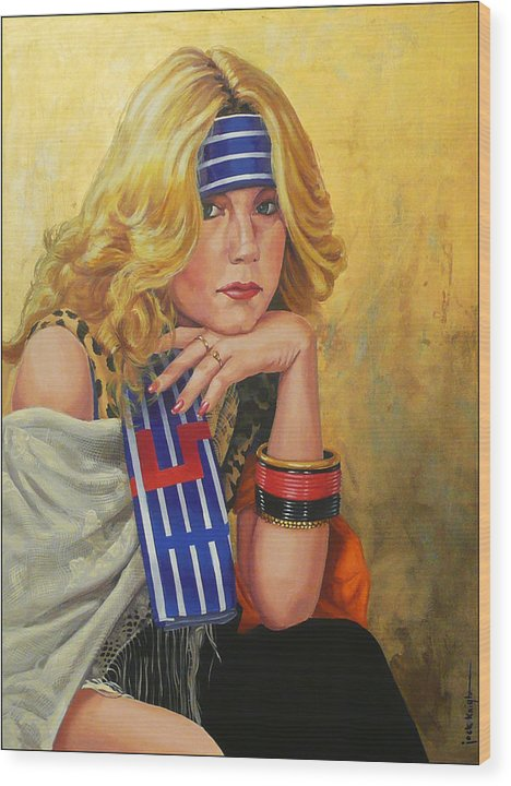 Woman Wood Print featuring the painting Blue Striped Bandana by Jack Knight