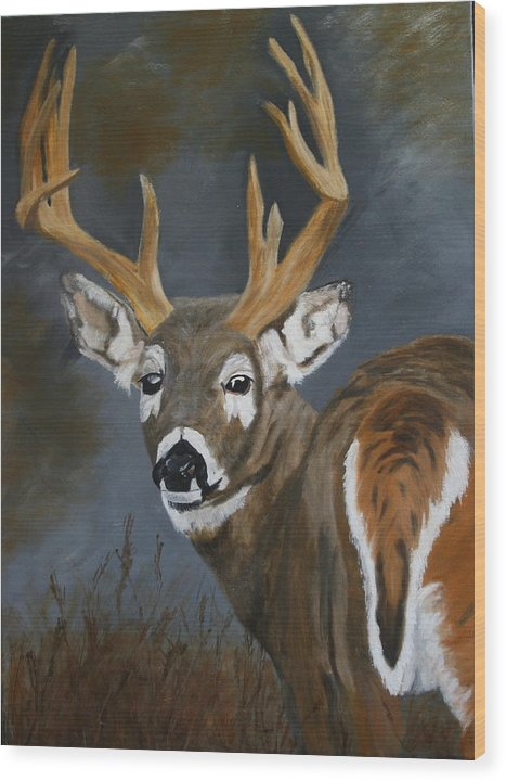 13 Pointer Wood Print featuring the painting Chance Meeting by Robert Tower