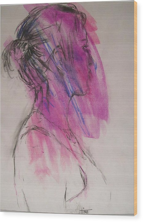 Portrait Wood Print featuring the painting Magenta by Tina Siddiqui