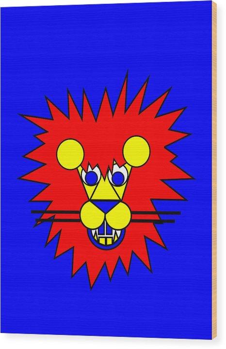 Mister Lion. Lion Wood Print featuring the digital art Mister Lion by Asbjorn Lonvig