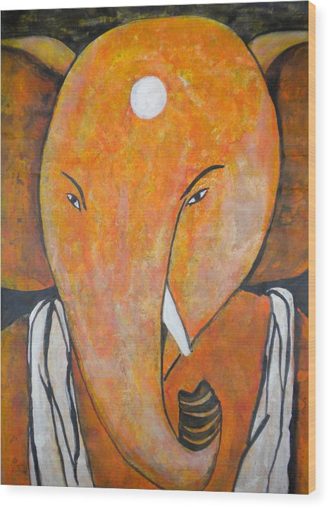 Ganpati Wood Print featuring the painting Shree Ganesh by Aman Chakra