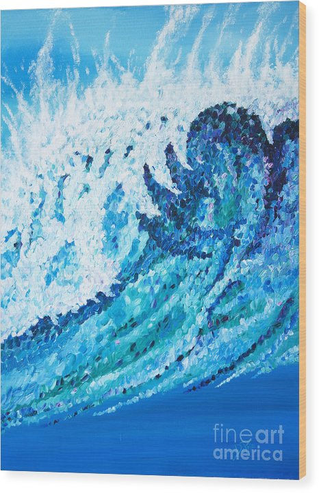 Ocean Wood Print featuring the painting Watercolor by JoAnn DePolo
