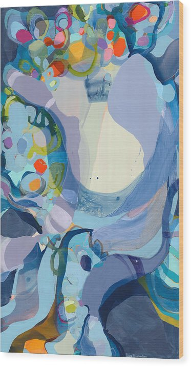 Abstract Wood Print featuring the painting 70 Degrees by Claire Desjardins