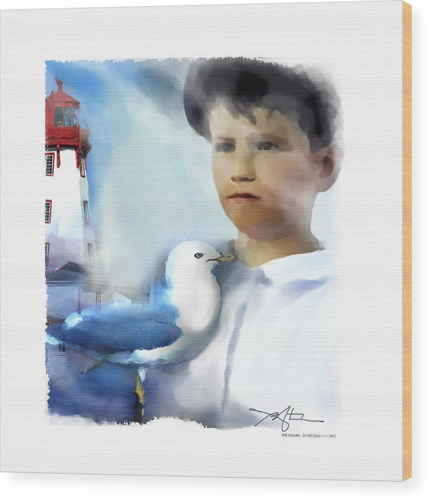 Boy Wood Print featuring the digital art The Calling - Out To Sea by Bob Salo
