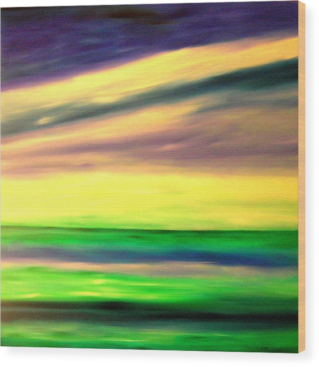 Caribbean Wood Print featuring the painting Green Sea by Sula Chance