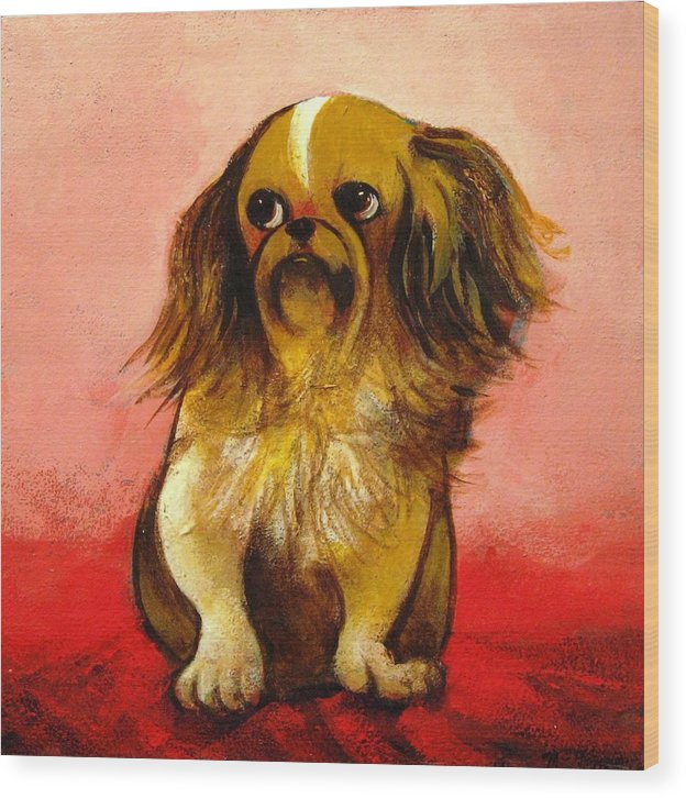 Dog Wood Print featuring the painting Pekinese by Christine McGinnis