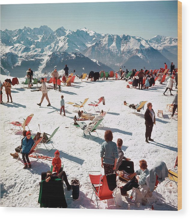 People Wood Print featuring the photograph Verbier Vacation by Slim Aarons