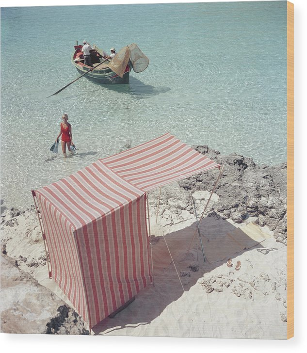 People Wood Print featuring the photograph Marietine Birnie, Blue Lagoon by Slim Aarons