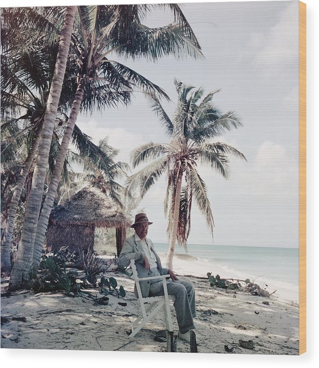 Beach Hut Wood Print featuring the photograph T. S. Eliot by Slim Aarons