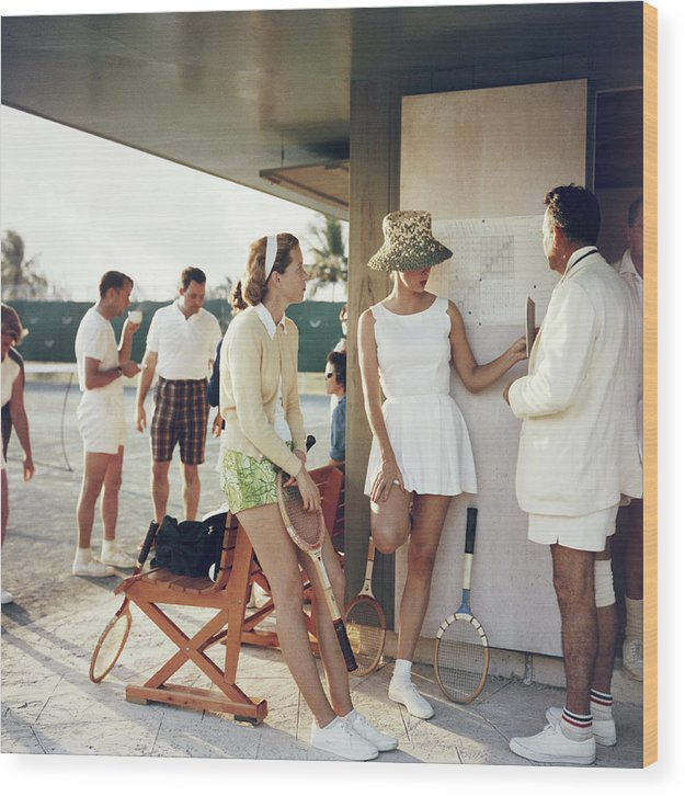 Tennis Wood Print featuring the photograph Tennis In The Bahamas by Slim Aarons