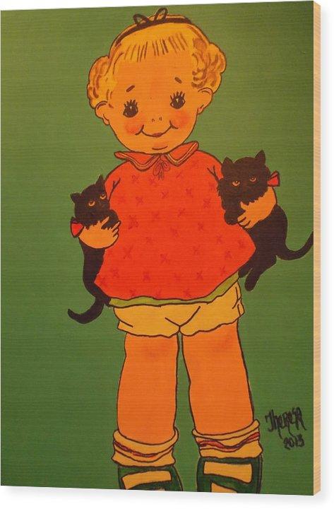 Vintage Kewpie Doll Wood Print featuring the painting Vintage Kewpie Doll by Theresa Shaw