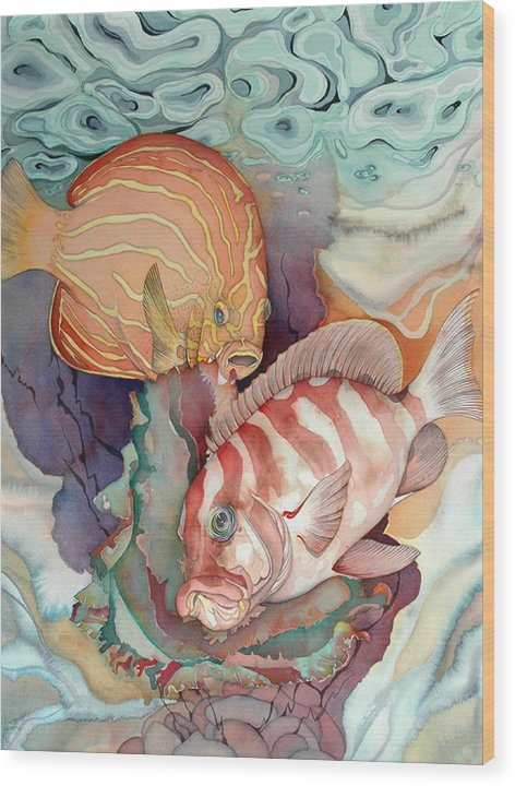 Sealife Wood Print featuring the painting Dance Macabre by Liduine Bekman