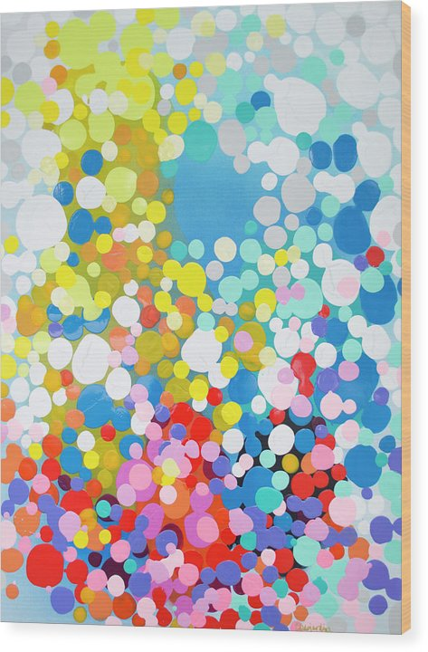 Abstract Wood Print featuring the painting Infatuation by Claire Desjardins