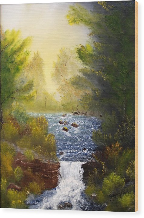 Landscape Wood Print featuring the painting Misty Morning by Jack Hampton