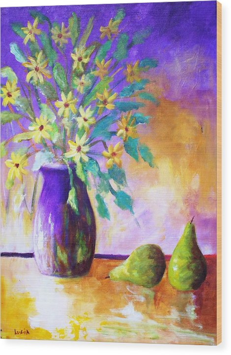 Moonbeam Flowers. Vases. Semi-absrtact. Print. Wood Print featuring the print Moonbeams by Carl Lucia