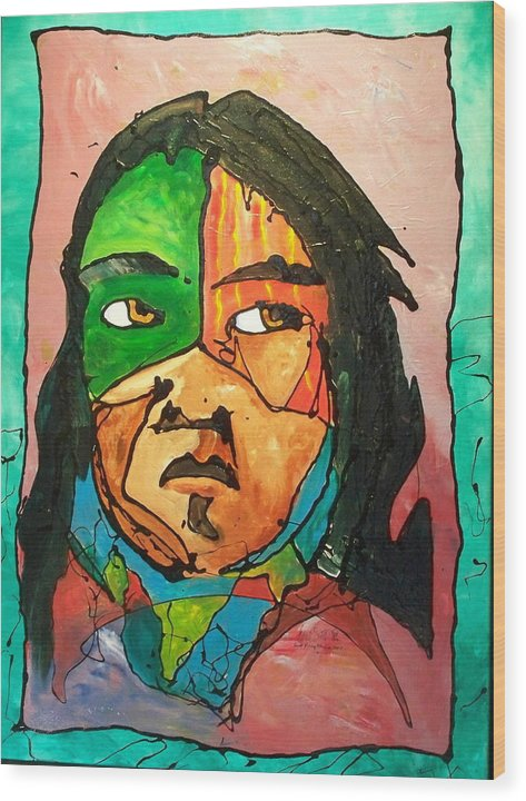 Abstract Wood Print featuring the painting One Of Two Of The Twins by Ernie Scott- Dust Rising Studios