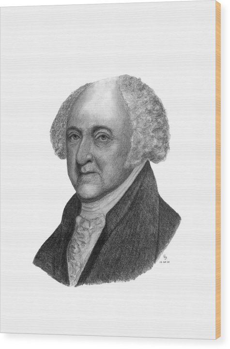 President Wood Print featuring the drawing President John Adams by Charles Vogan