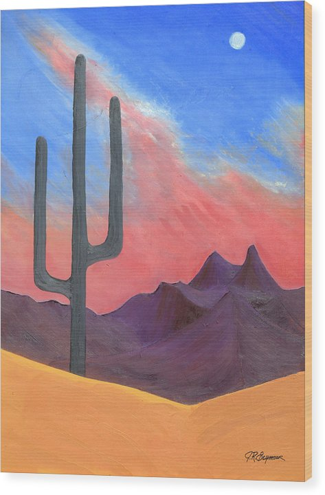 Cactus Wood Print featuring the painting Southwest Scene by J R Seymour
