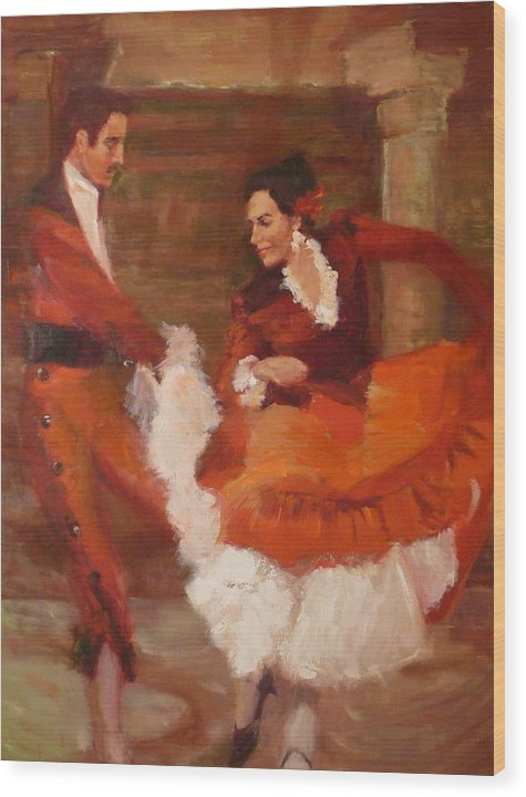 Spanish Wood Print featuring the painting Spanish Dancers by Irena Jablonski