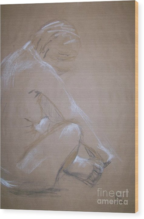 Figurative Wood Print featuring the painting Surrender by Tina Siddiqui
