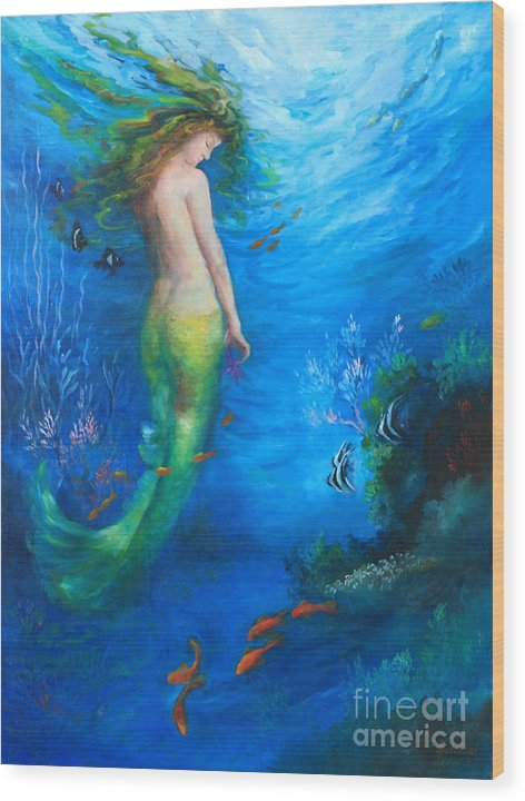 Mermaid Wood Print featuring the painting To The Surface by Gail Salitui