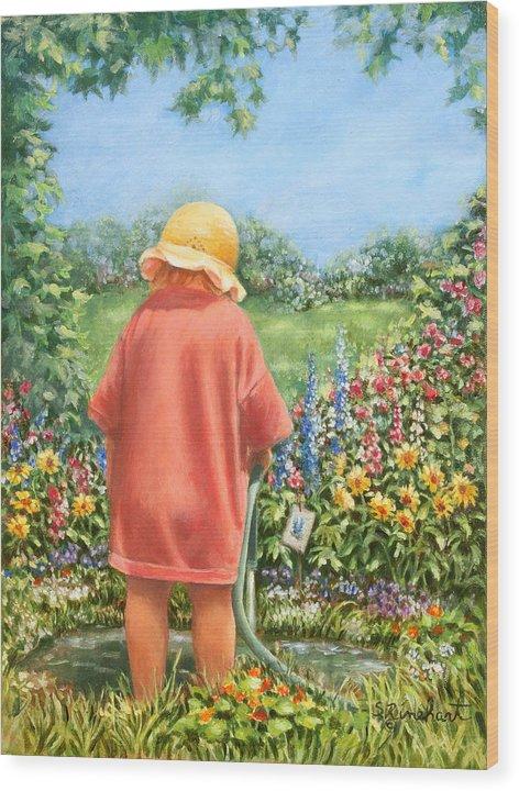 Garden Wood Print featuring the painting Water Garden by Susan Rinehart